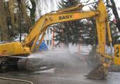 Excavators with one bucket