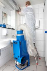 Dry dust collecting installations for air clean-up