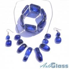 Glass jewelry, bijou, necklaces, bracelets, earrings, hairclips
